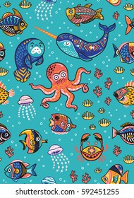 Vector seamless pattern with octopus, seal, narwhal and fish in a cartoon style. Vector tropical background.