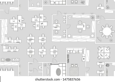 Vector seamless pattern. Office. Top view. Working space.  Office room, meeting room, reception, restroom, office furniture, cabinets, desks, chairs, computers. View from above.