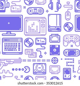 Vector seamless pattern with oldschool gaming objects. Blue lines on white.
