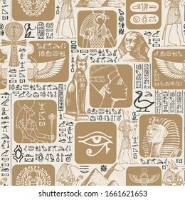 Vector seamless pattern on the Ancient Egypt theme with illustrations. Suitable for wallpaper, wrapping paper, fabric, background in retro style. The Egyptian symbols and mascots