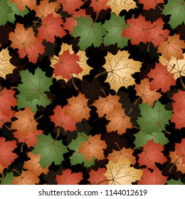 vector seamless pattern on autumn theme, maple leaves in different colors and positions, back translucent background is isolated