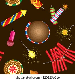 Vector seamless pattern on brown background with fireworks and sparklers