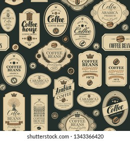 Vector seamless pattern on coffee and coffee house theme with various labels in retro style on the black background. Can be used as wallpaper or wrapping paper