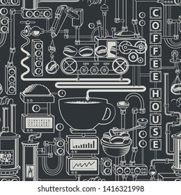Vector seamless pattern on coffee theme with a cup of freshly brewed coffee, plant with conveyor coffee production in retro style and with words Coffee house.