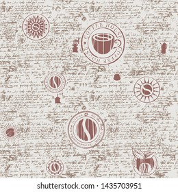 Vector seamless pattern on the coffee theme with a various coffee symbols and inscriptions on a background of old manuscript in retro style. Can be used as wallpaper or wrapping paper