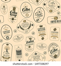 Vector seamless pattern on coffee and coffee house theme with various labels in retro style on the beige background. Suitable for wallpaper, wrapping paper, textile, fabric