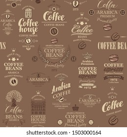 Vector seamless pattern on coffee and coffee house theme with various labels in retro style on the brown background. Suitable for wallpaper, wrapping paper, textile, fabric