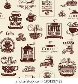 Vector seamless pattern on the coffee theme with brown coffee beans, inscriptions and illustrations on a beige background in retro style. Suitable for wallpaper, wrapping paper or fabric