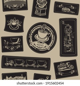 Vector seamless pattern on the coffee theme with various coffee illustrations on black leather patches on a beige background. Suitable for wallpaper, wrapping paper, textiles or fabric in retro style
