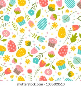 Vector seamless pattern on Easter theme. Easter Spring background with flowers and eggs.