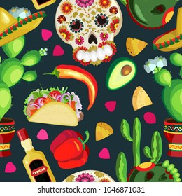 Vector seamless pattern on the holidays of Cinco de Mayo and  Day of the Dead. Symbols of the Mexican holiday
