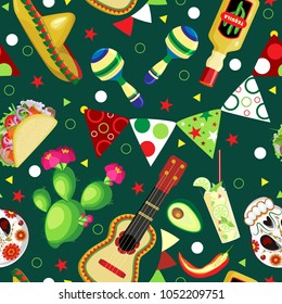 Vector seamless pattern on the holidays of Cinco de Mayo. Symbols of the Mexican holiday