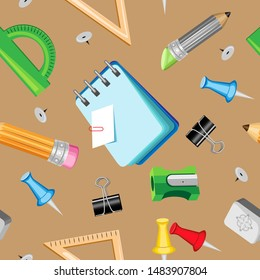 Vector seamless pattern on a light brown background. Stationery for school and office
