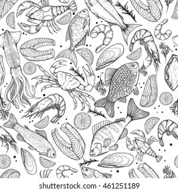Vector seamless pattern on the marine theme. Line silhouettes of different fishes and seafood. Sketches silhouettes handmade: bream, carp, trout, salmon, sturgeon, perch, squid, shrimp, crab, lobster