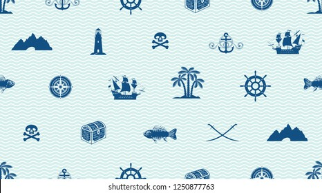 Vector seamless pattern on a pirate theme with a sailboat, Lighthouse, Jolly Roger, treasure chest, swords, compass, cave and other. Cute sea objects on blue background with waves in retro style
