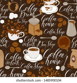 Vector seamless pattern on of tea and coffee theme in retro style. Repeatable background with coffee items, splashes and handwritten inscriptions. Suitable for wallpaper or wrapping paper