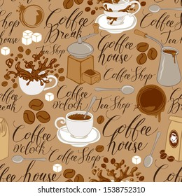 Vector seamless pattern on tea and coffee theme in retro style. Repeatable background with coffee items, splashes and handwritten inscriptions. Suitable for wallpaper, wrapping paper, fabric