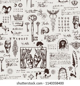 Vector seamless pattern on the theme of theater and drama with drawings of theatrical masks, vintage keys and lettering. Retro wallpaper, wrapping paper or backdrop for textile with sketches and blots