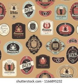 Vector seamless pattern on the theme of beer with various beer labels with images of barrels, beer glasses, mills, laurel wreathes, ears of wheat and other in retro style on red background