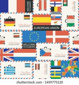 Vector seamless pattern on the theme of travel to countries of Euro union. Repeatable background with flags, envelopes and postcards in retro style. Suitable for wallpaper, wrapping paper, fabric