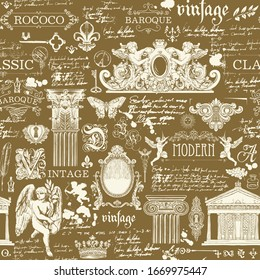 Vector seamless pattern on a theme of vintage art objects and Antiques. Hand-drawn illustrations and unreadable handwritten notes on a brown background. Suitable for wallpaper, wrapping paper, fabric