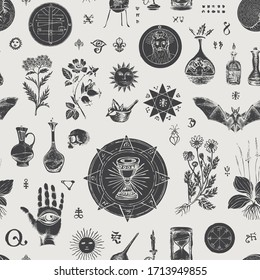 Vector seamless pattern on the theme of alchemy and healing in retro style. Abstract, background with hand-drawn sketches, various herbs and old alchemical and medical symbols, blots.