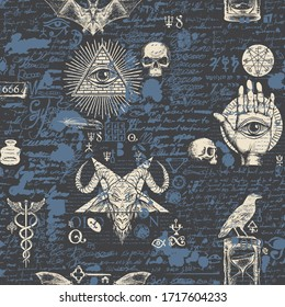 Vector seamless pattern on a theme of freemasonry and satanism in retro style. Abstract background with hand-drawn sketches, masonic symbols and scribbles imitating text on the old newspaper backdrop