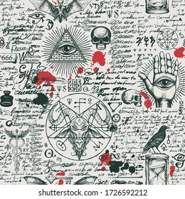 Vector seamless pattern on a theme of occultism and freemasonry in vintage style. Abstract background with hand-drawn sketches, masonic symbols, blood drops and scribbles imitating handwritten text