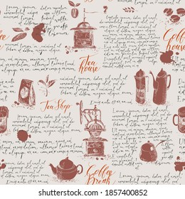 Vector seamless pattern on the theme of tea and coffee. Hand-drawn background with kitchen items, coffee spots and handwritten lorem ipsum text. Suitable for retro Wallpaper, wrapping paper, textiles