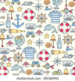 Vector seamless pattern on the theme of sea symbols.Pattern with isolated anchor, sailor clothing, ship, spyglass, fish, compass, bell. Background for use in design, web site, packing, textile, fabric