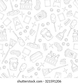 Vector seamless pattern on the theme of cleaning services company. Pattern with hand drawn symbols of cleaning on white color. Background for use in design, web site, packing, textile, fabric