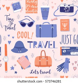 Vector seamless pattern on the theme of travel, vacation, adventure. Retro 50's style. Handdrawn lettering. Suitcase, camera, clothes and other stuff. Doodles.
