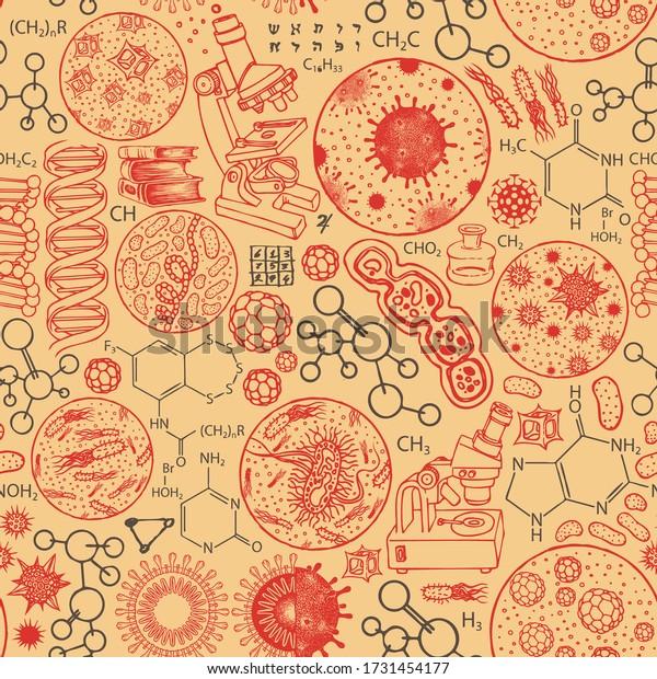 Patrón de vectores sin fisuras en el tema de la química, la biología, la medicina, la genética. Antecedentes abstractos con dibujos animados sobre el fondo naranja. Apto para papel de pared, papel o tela de envoltura