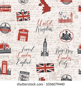 Vector seamless pattern on UK and London theme with inscriptions, British symbols, landmarks and flag in retro style on the background of old manuscript. Can be used as wallpaper or wrapping paper