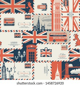 Vector seamless pattern on UK and London theme with envelopes, British symbols, architectural landmarks and flag of the United Kingdom in retro style. Suitable for wallpaper, wrapping paper, fabric