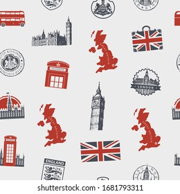 Vector seamless pattern on UK and London theme with British symbols, architectural landmarks and flag of the United Kingdom in retro style. Suitable for wallpaper, wrapping paper, fabric, textile