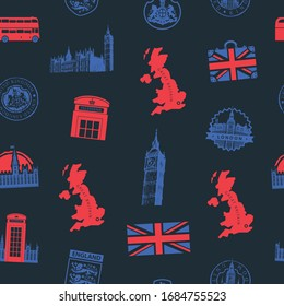 Vector seamless pattern on UK and London theme with British symbols, architectural landmarks and flag of Great Britain on a dark background. Suitable for wallpaper, wrapping paper, fabric