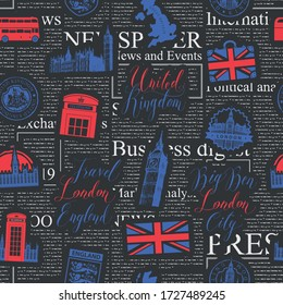 Vector seamless pattern on UK and London theme with inscriptions, British symbols, landmarks and flag on the background of black magazine page. Suitable for wallpaper, wrapping paper or fabric