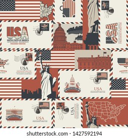 Vector seamless pattern on USA theme with envelopes, American symbols, architectural landmarks and flag of the United States in retro style. Can be used as wallpaper or wrapping paper