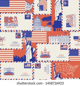 Vector seamless pattern on USA theme with envelopes and postcards, American symbols, architectural landmarks and flag of United States in retro style. Suitable for wallpaper, wrapping paper, fabric
