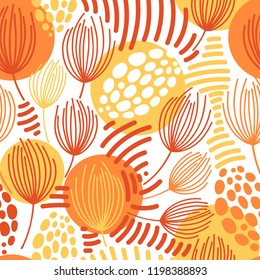 Vector seamless pattern on white. Abstract background with floral elements. Natural design.