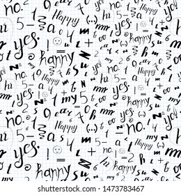 vector seamless pattern on a white background from handwritten letters, numbers and words, ready for printing on packaging, on gifts, on fabric, on covers, on paper, for creating backgrounds, cards