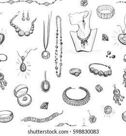 Vector seamless pattern on white background. Jewelry hand drawings.