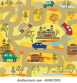 Vector seamless pattern on a yellow  background. Cars on the autumn forest roads.