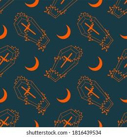 Vector seamless pattern. Orange coffin, moon. Halloween.