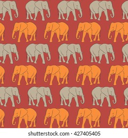 Vector seamless pattern. Orange and gray Elephants (5)