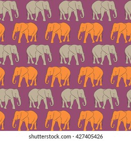 Vector seamless pattern. Orange and gray Elephants (8)