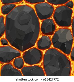 Vector seamless pattern, orange hot lava stones. Texture.