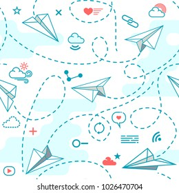 Vector seamless pattern with origami paper airplanes and conceptual social media icon. Pattern for background, textile, wrapping paper and other decoration.Vector illustration.