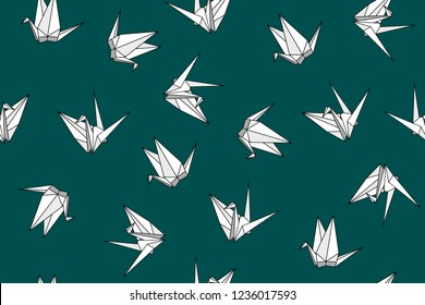 Vector seamless pattern with origami paper birds. Polygonal seamless pattern with birds cranes. Pattern for fabric, baby clothes, background, textile, wrapping paper and other decoration.